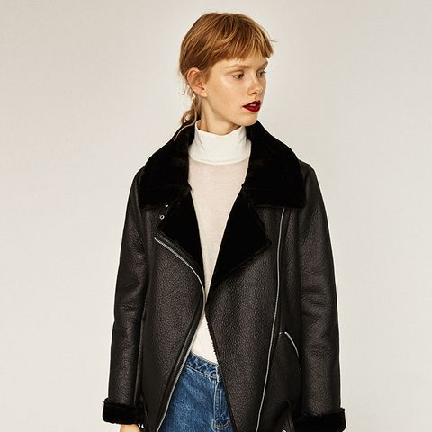 Faux-Fur Collar Biker Jacket