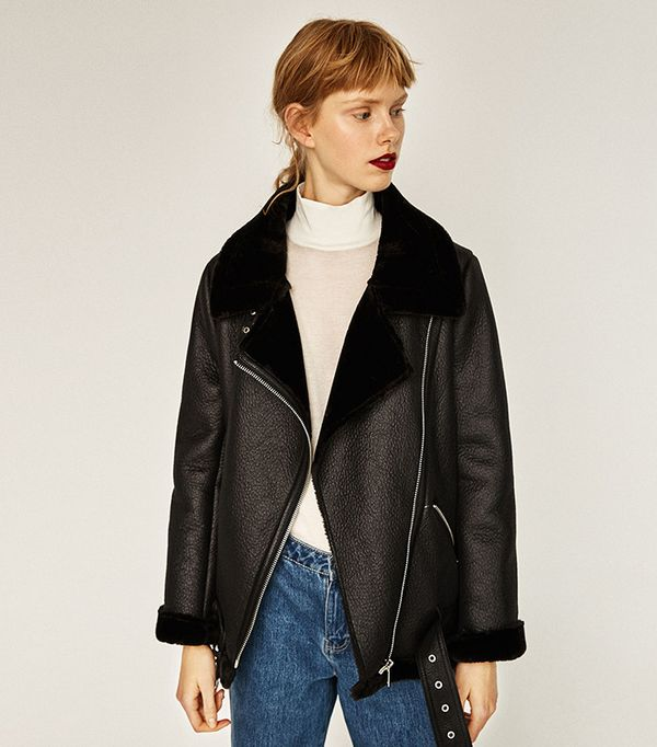 Zara Faux-Fur Collar Biker Jacket