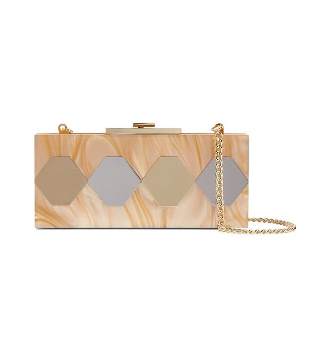 Halston Heritage Mirrored Marble-Effect Acrylic Clutch