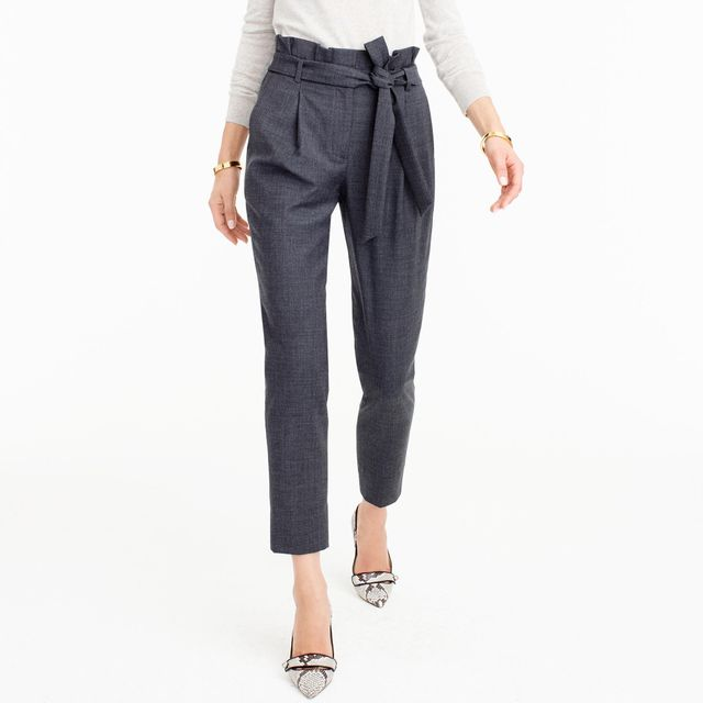 J.Crew Wool Flannel Pants with Paper-Bag Waist