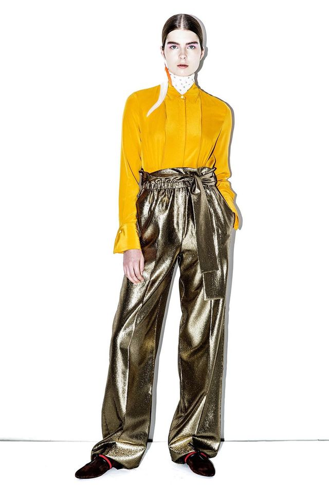 3.1 Phillip Lim High-Waisted Lamé Paper-Bag Pants