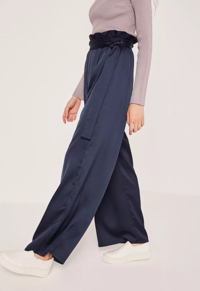 Missguided Navy Paper Bag–Waist Trousers