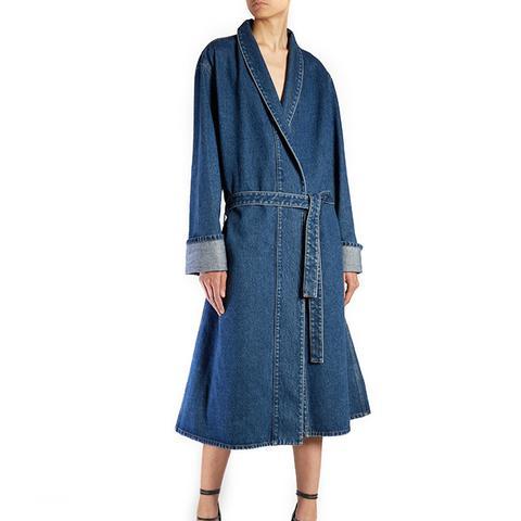 Stone-Washed Denim Coat