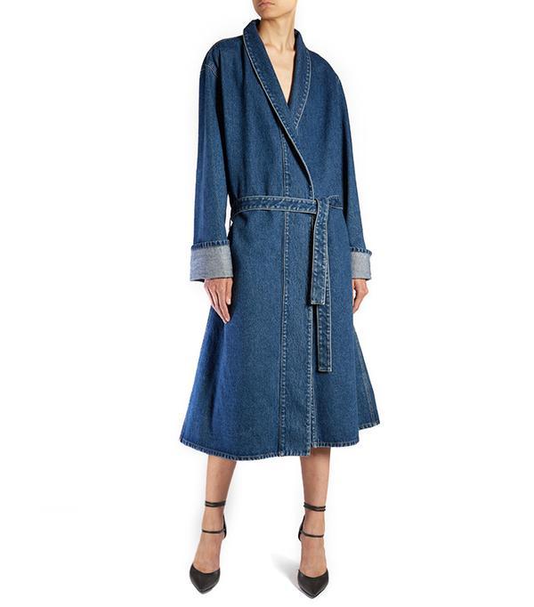 Balenciaga Stone-Washed Denim Coat
