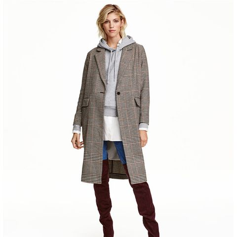 Houndstooth-Patterned Coat