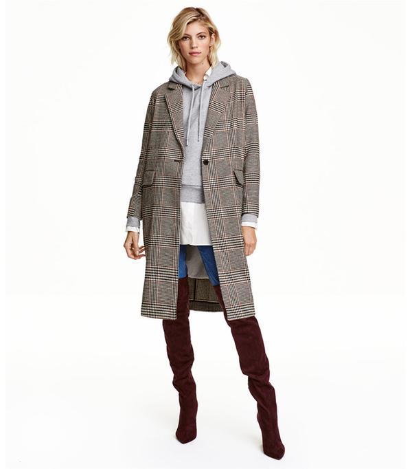 H&M Houndstooth-Patterned Coat