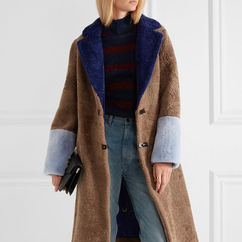 Women's Brown Febbe Color-Block Shearling Coat