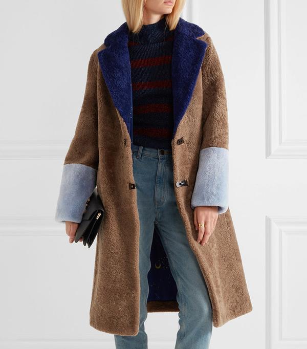 Saks Potts Women's Brown Febbe Color-block Shearling Coat