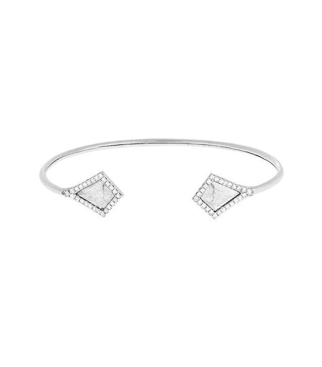 Susan Foster Diamond Slice and White-Gold Cuff