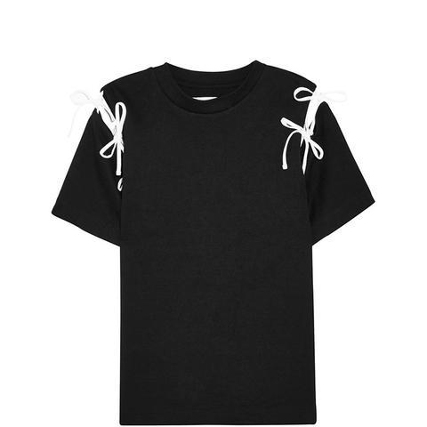 Bow-Embellished Cutout Cotton-Jersey T-Shirt