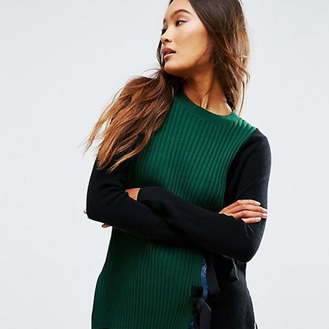 Sweater with Split Front and Tie Detail