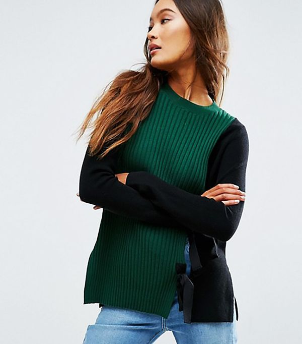 ASOS Sweater with Split Front and Tie Detail