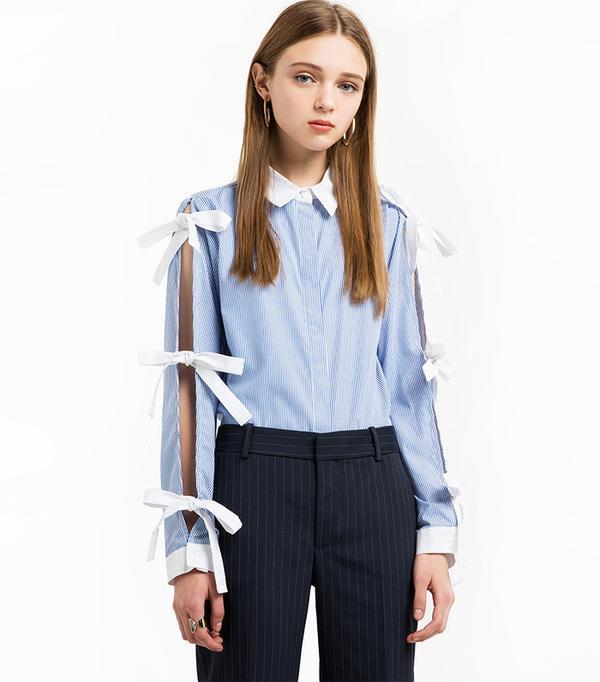 Pixie Market Striped Tie Sleeve Shirt