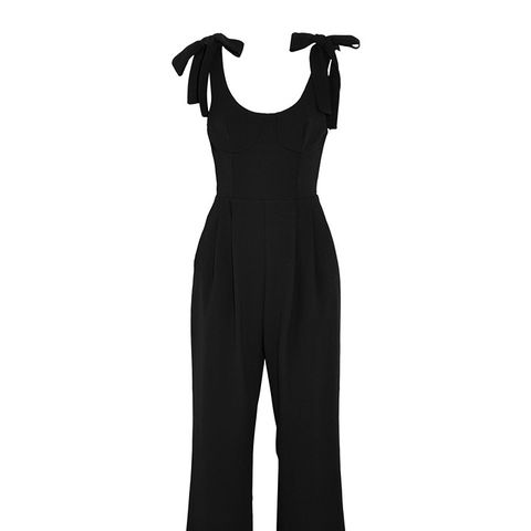 Courtside Cropped Cutout Crepe Jumpsuit