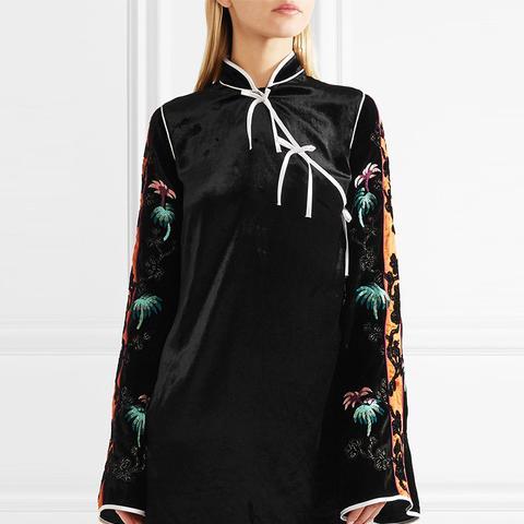 Annamay Embroidered Velvet Mini Dress