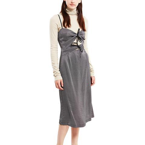 Tie-Front Midi Dress