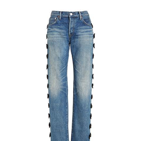 Grosgrain Bow Embellished Jeans