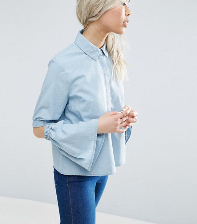 ASOS Denim Shirt with Flared Sleeves and Cold Elbow