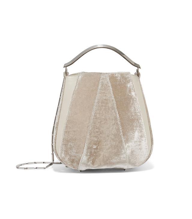 Eddie Borgo Pepper Velvet and Leather Bucket Bag