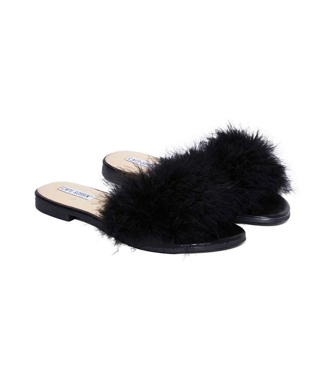 Nasty Gal Valley Girl Feather Slide Sandals