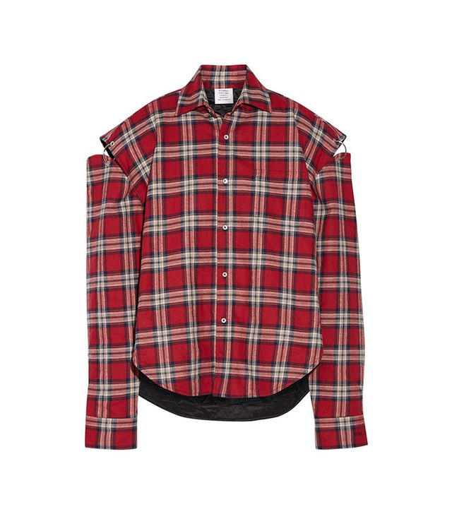 Vetements Oversized Cutout Plaid Cotton-Flannel Shirt