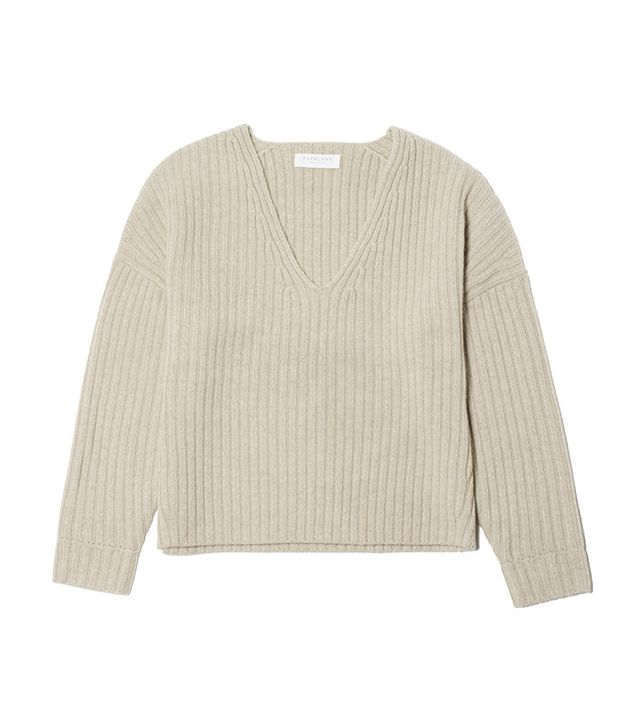 Everlane The Ribbed Wool-Cashmere Crop V-Neck Sweater