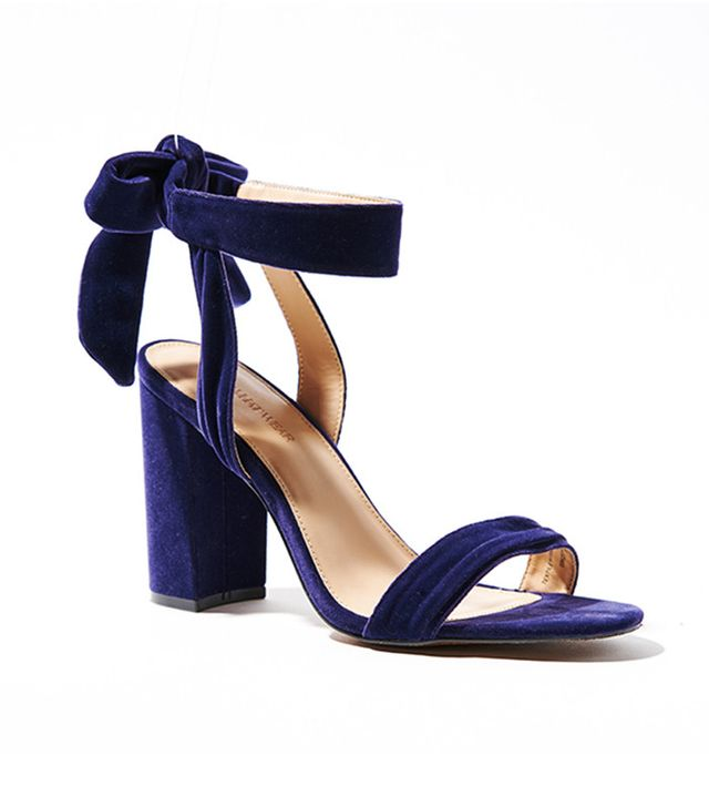 Who What Wear Michaela Velvet Ankle Tie Bock Heels