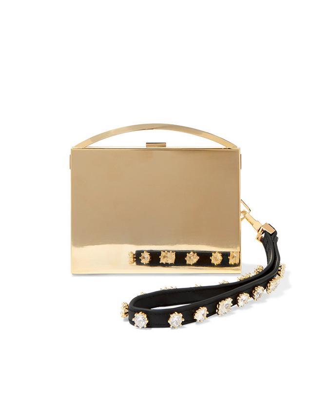 Eddie Borgo Lou Embellished Leather-Trimmed Gold-Tone Clutch