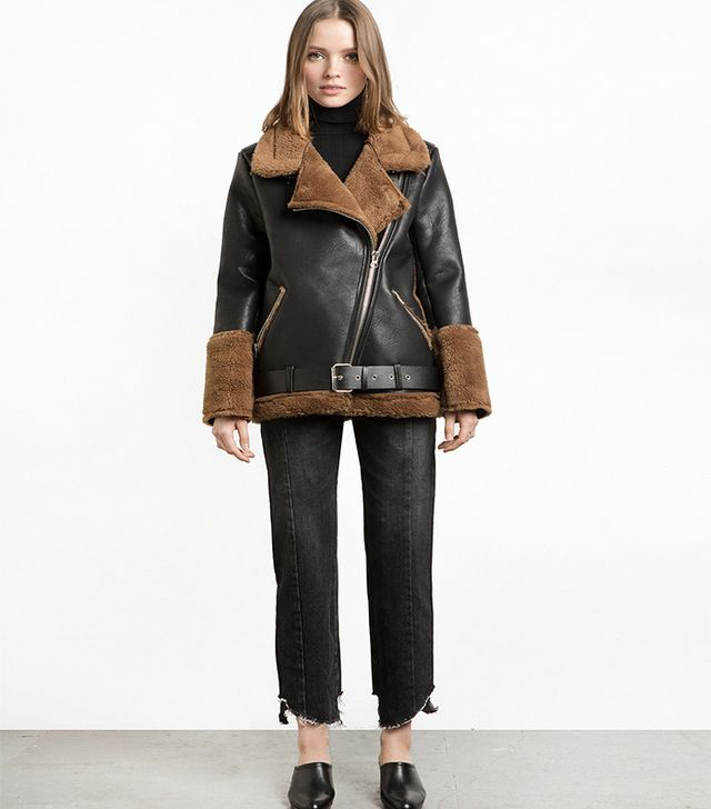 Pixie Market Brown and Black Shearling Biker Jacket