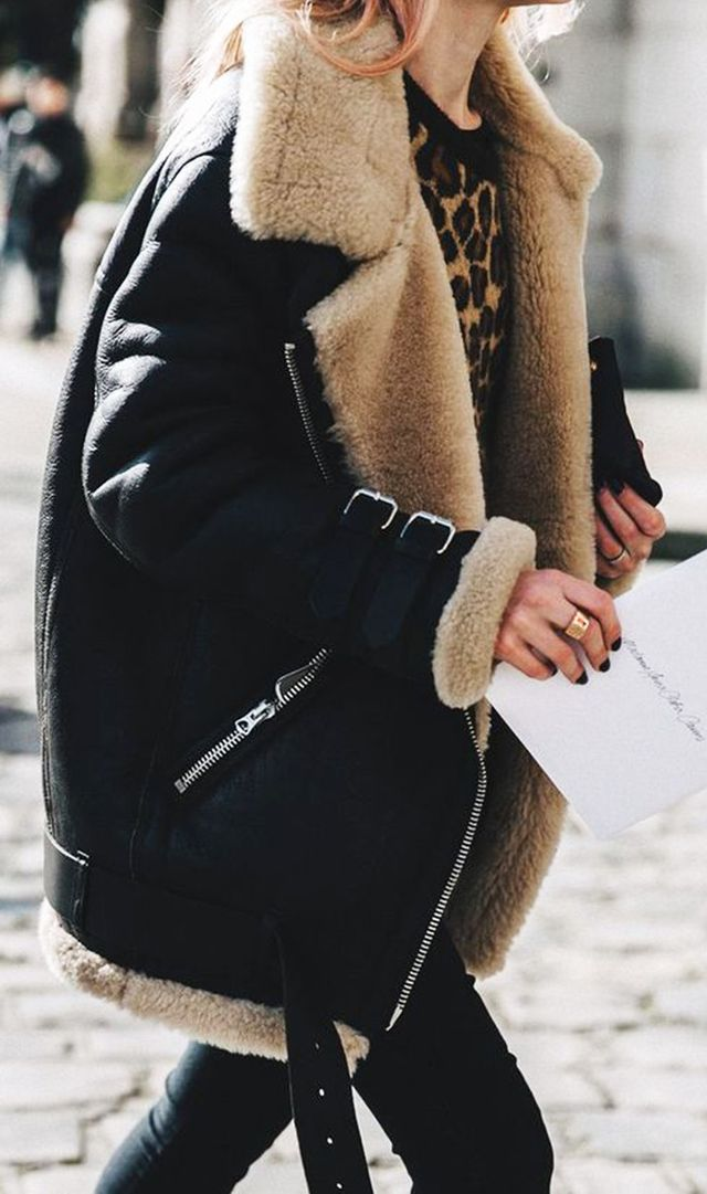 For an edgy-cool winter look, pair a warm bomber with a little bit of leopard.