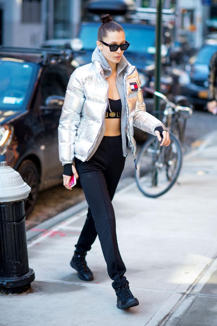 Bella Hadid wearing active wear in New York City