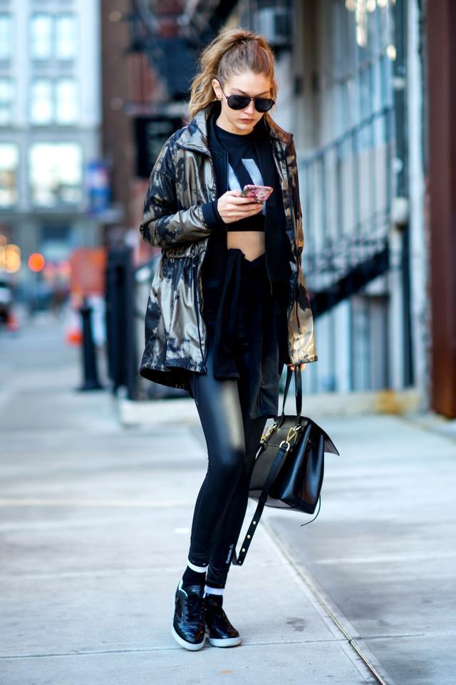 Gigi Hadid wearing active wear in New York City