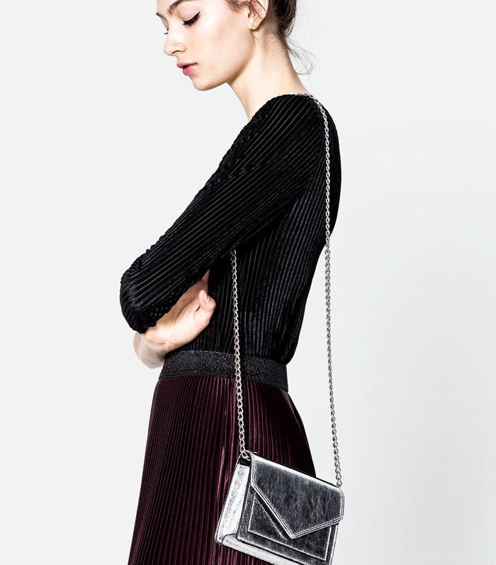Pull&Bear Mini Silver Evening Crossbody Bag