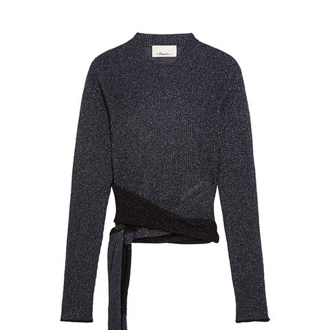 Tie-Front Metallic Ribbed-Knit Sweater