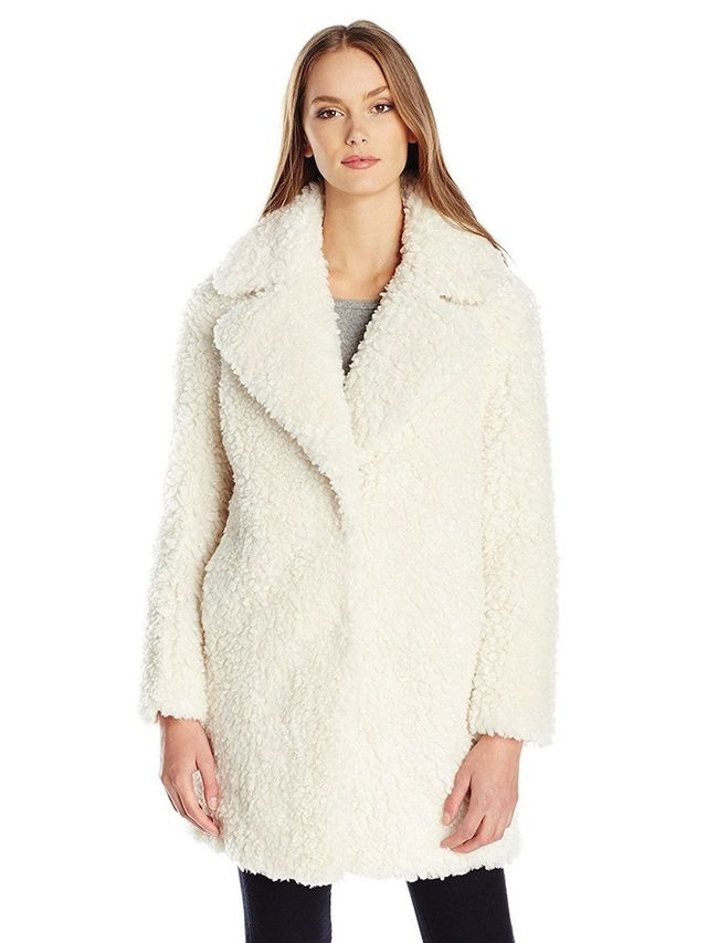 Kensie Faux Fur Teddy Notch Collar Coat