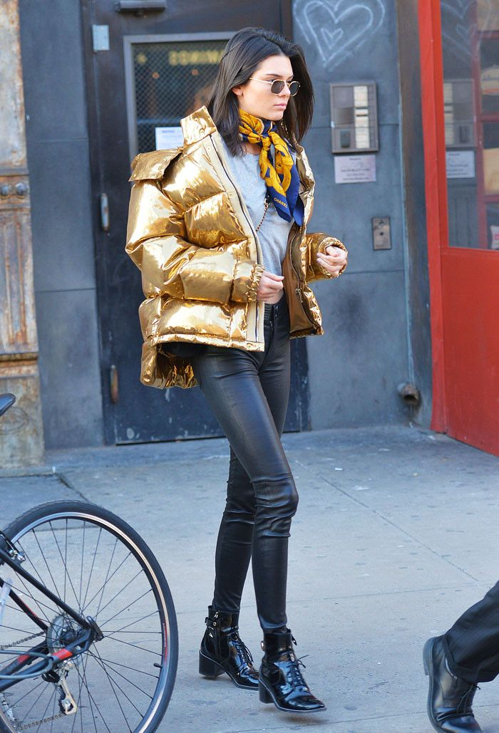 Kendall Jenner gold puffer jacket