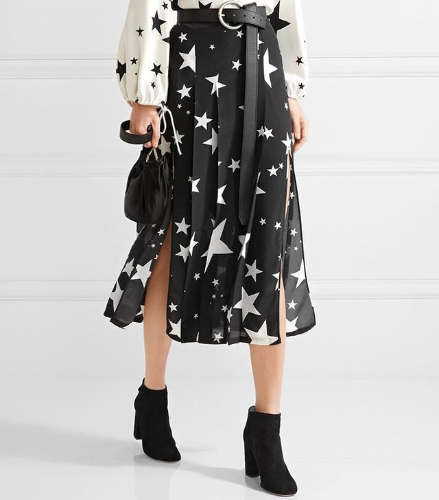 Rixo London Georgia Pleated Silk Midi Skirt