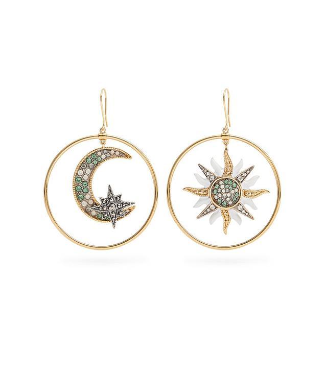 Roberto Cavalli Sun and Moon Embellished Hoop Earrings