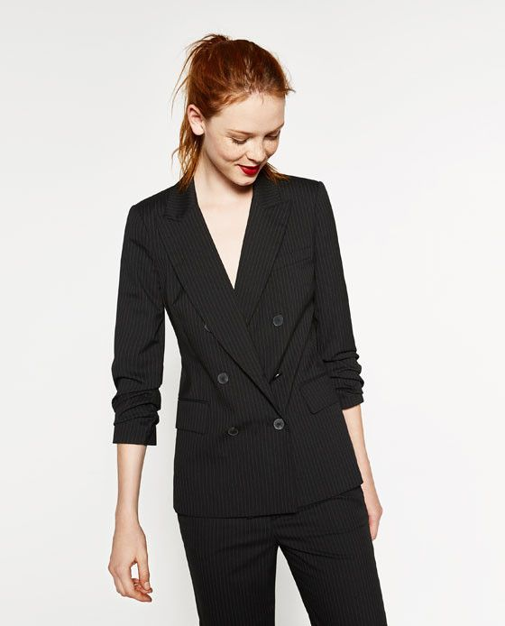Zara Double-Breasted Pinstripe Jacket