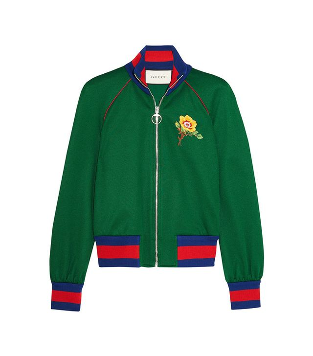 Gucci Appliquéd Satin-Jersey Bomber Jacket