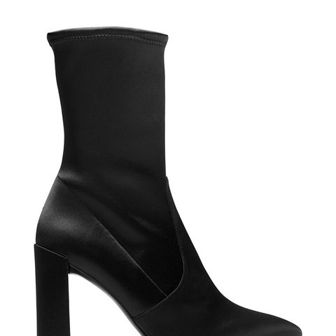The Clinger Booties in Stretch Satin Black