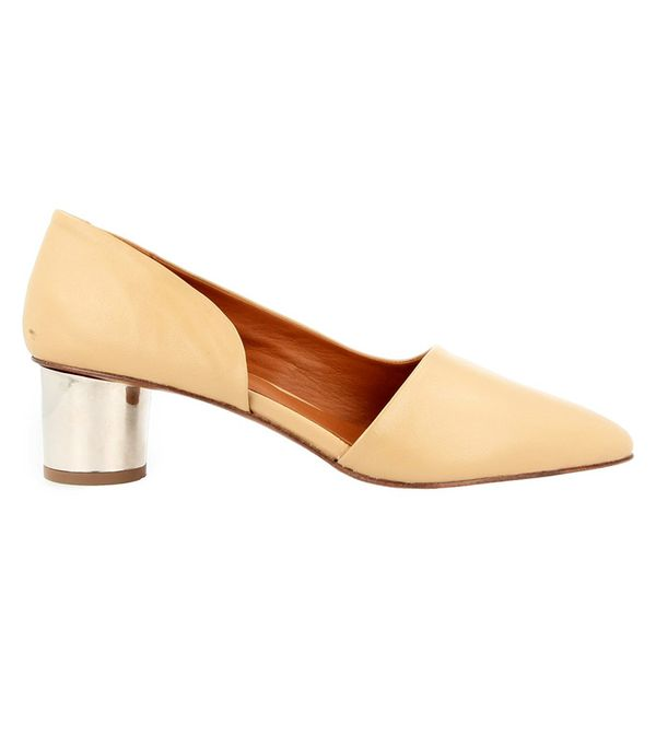 by far Karla Cream Leather Pumps