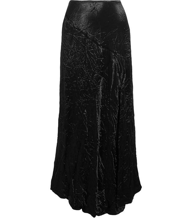 Joseph Louie Crinkled-Satin Midi Skirt
