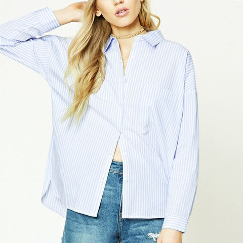 Striped High-Low Pocket Shirt