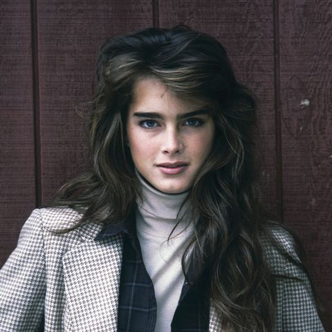 eighties fashion: Brooke Shields rocks a classic eighties fashion look with a roll neck