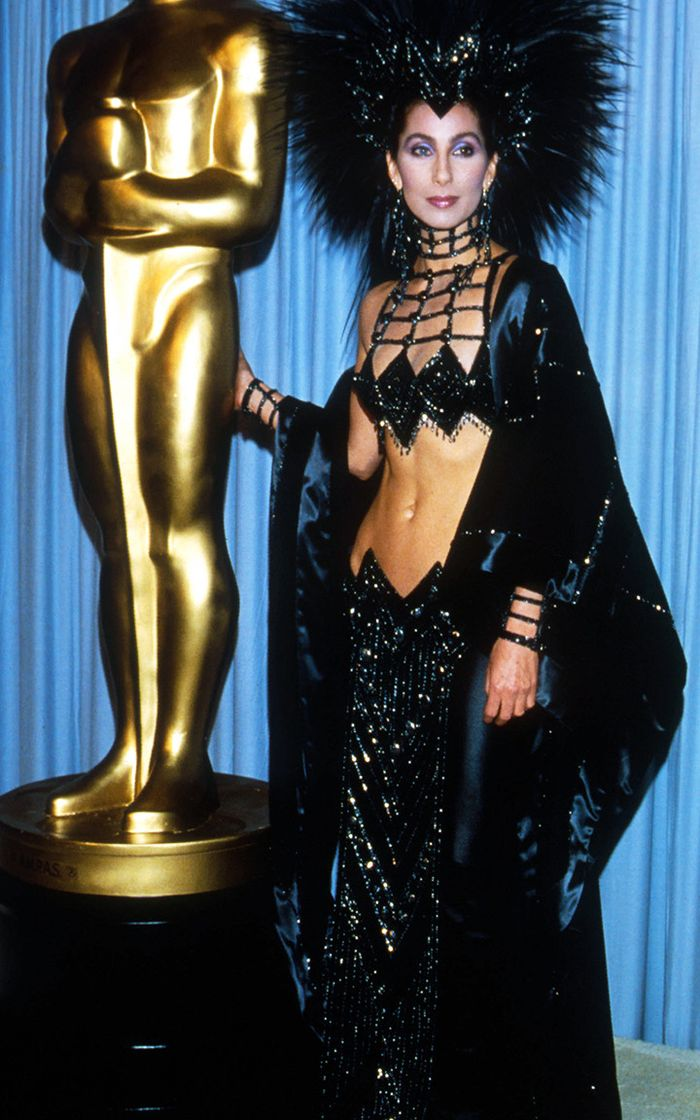 Eighties fashion: Cher proves she's the queen of eighties fashion in this Bob Mackie creation