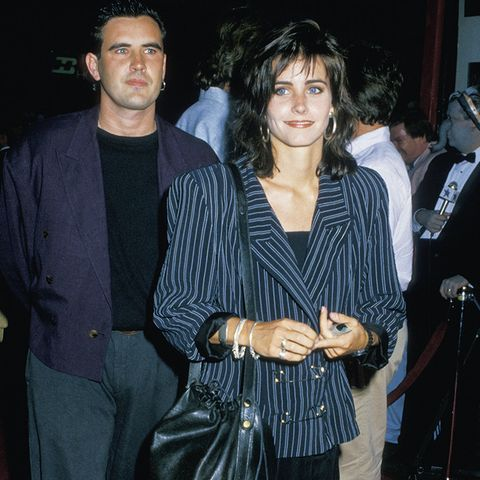 eighties fashion:  Courteney Cox on the red carpet wearing oversized shoulders