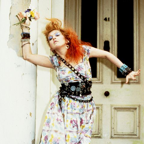 eighties fashion: Cyndi Lauper in a classic eighties fashion belt