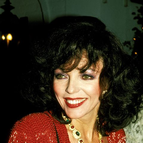 eighties fashion:  Joan Collins wears an oversized necklace