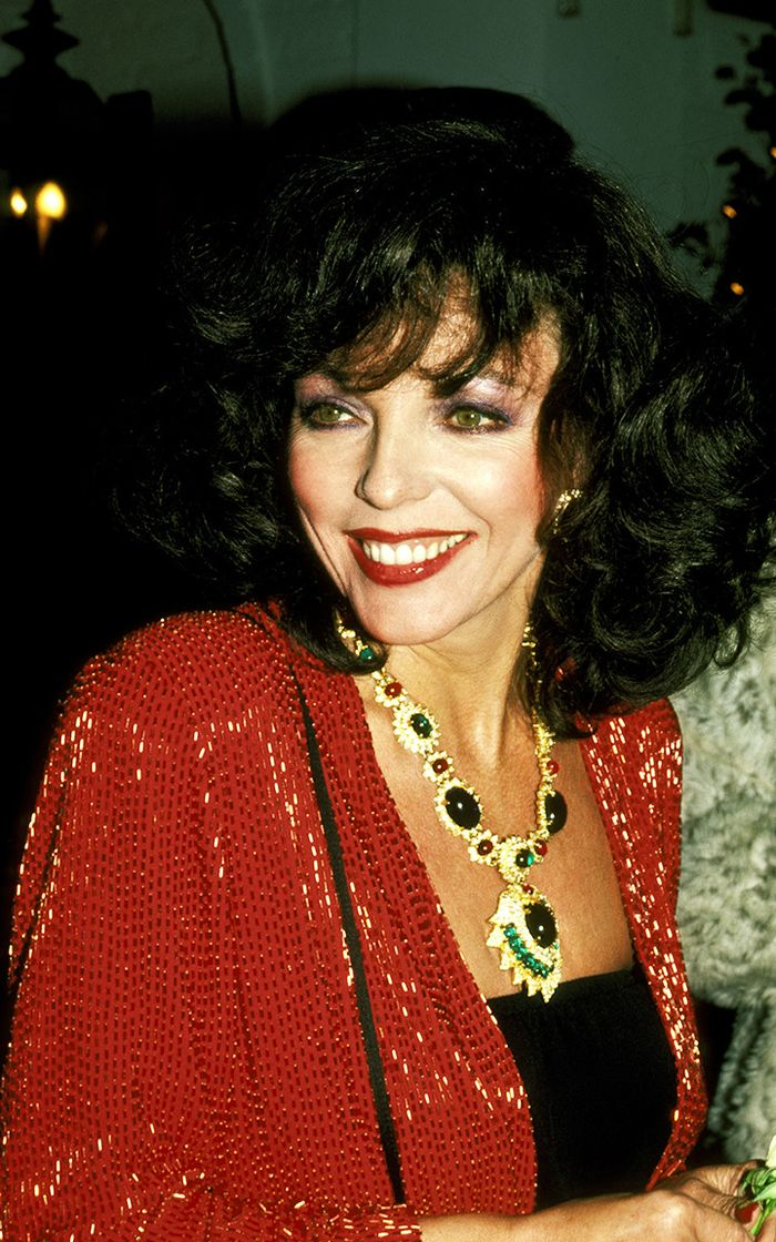 80s fashion: Joan Collins wears an oversized necklace